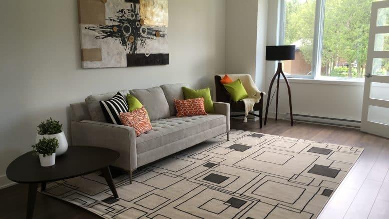 Sofa gris décoré de coussins, entouré d'une table à café avec deux plantes vertes, d'un fauteuil et centré sur un tableau dans le salon d'une habitation du Carrefour de l'Auberge, des locations résidentielles à Orford.